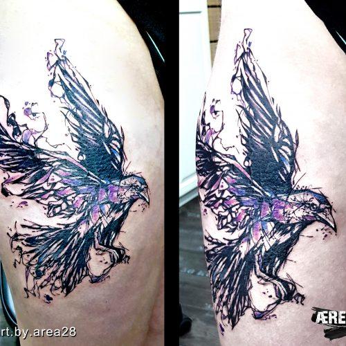 Rabe_Sketch_bein-tattoo