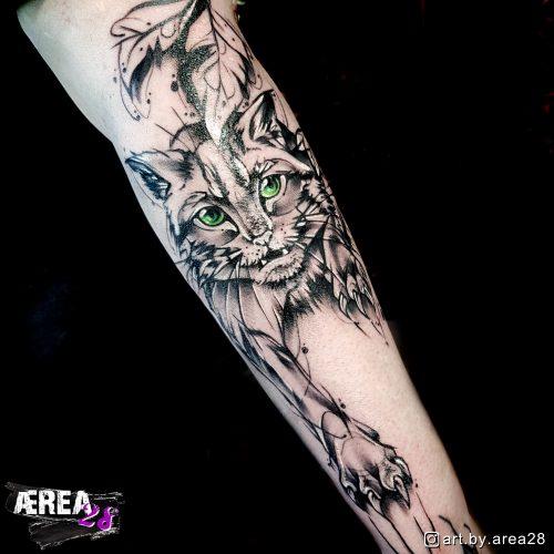 wildkatze-raubkatze-sketch-arm-tattoo