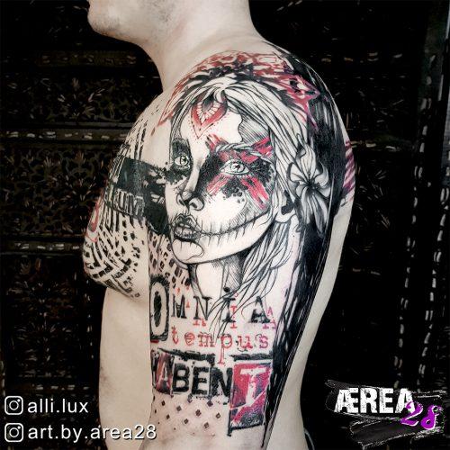 Destroyed Pattern Polka Trash Tattoo by Älli Lux 1