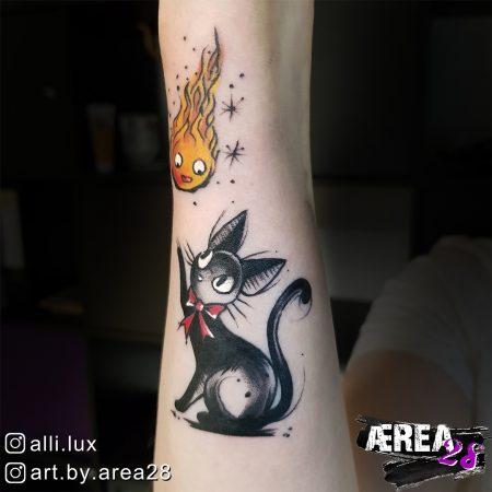 Ghibli Tattoo - Calzifer & Kiki by Älli Lux 2
