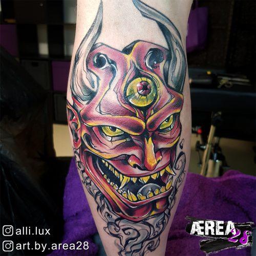 Oni Maske Tattoo by Älli Lux 1