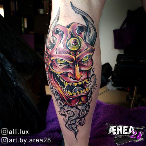 Oni Maske Tattoo by Älli Lux 3